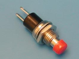 PSW-5-R, Кнопка круглая 5мм 220В 0,3А, крепление гайка, НР, красная