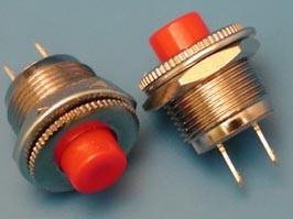 Фото 1/2 PSW-3-R, Кнопка круглая 6мм 220В 0,3А, крепление гайка, НР, красная