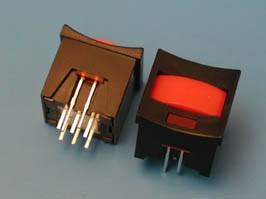 PSM2-1-R-B-R, Кнопка мини с фиксацией, красная в черном корпусе с красным индикатором
