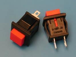 PSW-9AR (B169A), Кнопка 15х15 креп.защелка б/фикс.НР конт.(красная) 0.3A/250В
