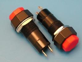 PSW-6FA-R, Кнопка восьмиуг. 220В 1А с фикс.крепл.гайка (красная)