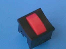 PSM2-2-R-B, Кнопка мини без фиксации с щелчком, красная в черном корпусе