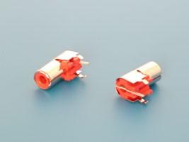 RP-8-R, Разъем RCA-тюльпан, гнездо на плату, красный