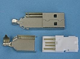 USBA-SP, Разъем USB (п) на кабель, тип А (пайка), тип 1