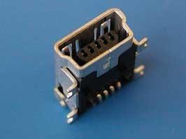 USB/M-1J, Разъем mini USB, гнездо на плату поверхностный монтаж, 5 контактов