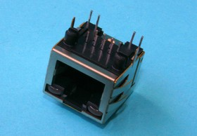 TJ18-L8P8C-5, Разъем на плату 8P8C/RJ-45 , 2 светодиода (красн.-зел) , экран (тип 18)