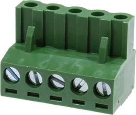 MC100-508-05P, клеммник на провод, шаг 5.08мм 5 конт.
