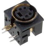 1-480G, разъем mini DIN 4 контакта (s-vhs) гнездо пластик на плату, позол
