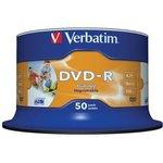 Фото 2/2 Verbatim 43533 DVD-R 4.7 GB 16x CB/50 Full Ink Print, Записываемый компакт-диск