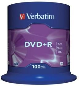 Verbatim 43551 DVD+R 4.7 GB 16x CB/100, Записываемый компакт-диск (упаковка из 100)