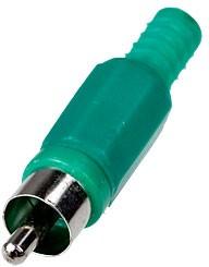 "1-200 GR, (RP-405), Разъем RCA ""шт"" пластик на кабель, зеленый"