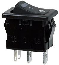 R19A-02IBBBTG-G, выключатель ON-OFF 250В 6А с зелен.подсв.(SWR41)