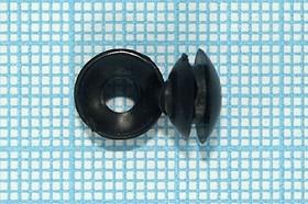 Втулка проходная резиновая под кабель диаметром до 3мм, черная, № 15041B втулка проход\d 3,0x 4,8xd 8,5\d 5,5x1,6\резин\чер
