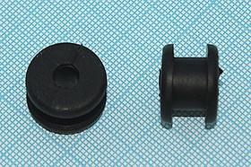 Втулка проходная резиновая под кабель диаметром до 6мм, черная, № 15077B втулка проход\d 6,0x12,5xd18\ d12x7,5\резин\чер\