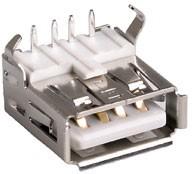 USBA-1J-W, розетка на плату тип А белая