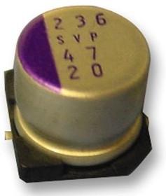Фото 1/3 25SVP10M, Polymer Aluminium Electrolytic Capacitor, 10 мкФ, 25 В, Radial Can - SMD, OS-CON SVP Series