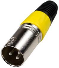 """1-503 YE, разъем XLR 3p """"шт"""" металл цанга на кабель желтый"""