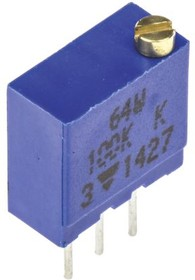 M64W104KB40, Res Cermet Trimmer 100K Ohm 10% 0.5W(1/2W) 21(Elec)/23(Mech)Turns 2.2mm (9.7 X 5 X 11.1mm) Pin Thru-