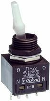 TL22DNAW016G, Switch Toggle ON None ON DPDT Lighted Lever Solder Lug 6A 250VAC 12VDC Panel Mount with Threads