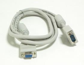 КАБЕЛЬ NONAME, Кабель-удлинитель VGA, DB15 (m) - DB15 (f), ферритовый фильтр, 1.8м