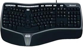 Клавиатура MICROSOFT 4000, USB, c подставкой для запястий, черный + серебристый [b2m-00020]