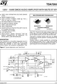 TDA7293 120V-100W DMOS audio amplifier with mute / st-by datasheet.