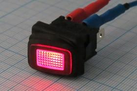 Фото 1/5 Клавишный герметичный выключатель красный,с подсветкой 220В/10А, с фиксацией, 10681 ПКл\ 3T\10А\ON-OFF\\ ILкр\герм\R13-66B8