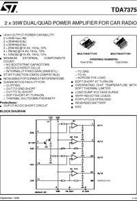 TDA7375 datasheet, 2 X 35W DUAL/QUAD POWER AMPLIFIER FOR CAR RADIO.