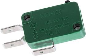 KW1-103-1A200, микропереключатель рычаг 16А/250В ножевые контакты