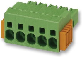 SPC 5/5-STCL-7.62, Съемная клеммная колодка, 7.62 мм, 5 вывод(-ов), 24AWG до 8AWG, 10 мм², Вставной, 41 А