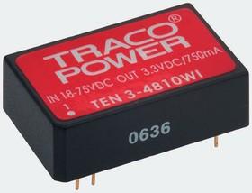TEN 3-4810WI, Module DC-DC 48VIN 1-OUT 3.3V 0.75A 3W 7-Pin DIP