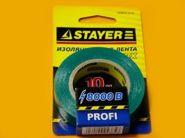 "12292-G-15-10, Изолента STAYER ""PROFI"" зеленая ПВХ, 15мм х 10м х 0,18мм"