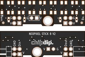 Печатная плата Neopixel stick 8 v2, Печатная плата с разводкой, FR4 12.8х41.9мм (1.5мм, 18мкм)