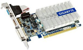 Видеокарта GIGABYTE GeForce 210, GV-N210SL-1GI, 1Гб, DDR3, Low Profile, Ret