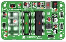 Фото 1/4 MIKROE-977, Ready for AVR board, Макетная плата с установленным мк ATmega16