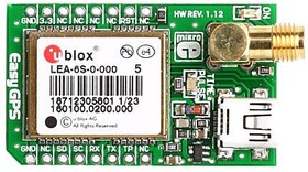 Фото 1/4 MIKROE-1032, GPS Click, Встраиваемый GPS модуль форм фактора mikroBUS на основе LEA-6S