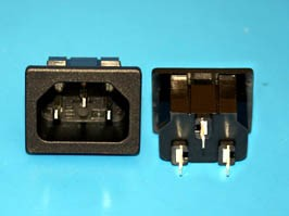 AC-5, Разъем 220В вилка на блок, 3 контакта, крепление защелка, 10A