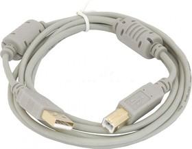 Кабель USB2.0 USB A (m) - USB B (m), ферритовый фильтр , 1.8м, серый
