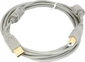 Кабель USB2.0 USB A (m) - USB B (m), GOLD , ферритовый фильтр , 3м, серый