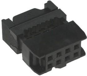 IDC-08F (DS1016-08), Розетка 2,54мм на шлейф с фиксатором кабеля