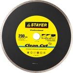 3664-230_z01, Clean Cut 230 мм, диск алмазный отрезной сплошной по керамограниту, мрамору, плитке, STAYER Professi