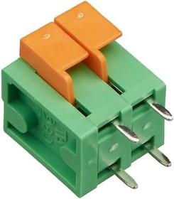 KLS2-142V-5.08-2P (DG142V-5.08-02P), Клеммник пружинный нажимной, 2 контакта, шаг 5.08мм(KLS2-142V)