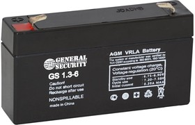 GS1.3-6, Аккумулятор свинцовый 6B-1.3Ач 97x24x57