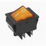 IRS-201-1A3 (желтый), Переключатель с подсветкой ON-OFF (15A 250VAC) DPST 4P