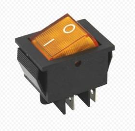 Фото 1/2 IRS-201-1A3 (желтый), Переключатель с подсветкой ON-OFF (15A 250VAC) DPST 4P