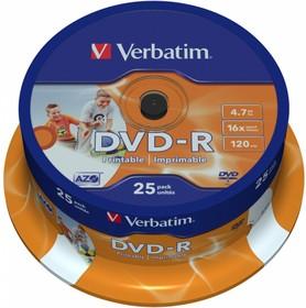 Оптический диск DVD-R VERBATIM 4.7Гб 16x, 25шт., cake box, printable [43538]