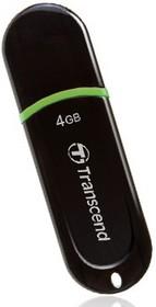 Флешка USB TRANSCEND Jetflash 300 4Гб, USB2.0, черный и зеленый [ts4gjf300]