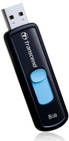 Флешка USB TRANSCEND Jetflash 500 8Гб, USB2.0, черный и голубой [ts8gjf500]