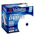 Оптический диск DVD+R VERBATIM 4.7Гб 16x, 10шт., jewel case, printable [43508]