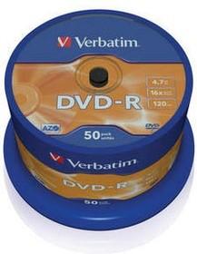 Фото 1/3 Оптический диск DVD-R VERBATIM 4.7Гб 16x, 50шт., cake box [43548]